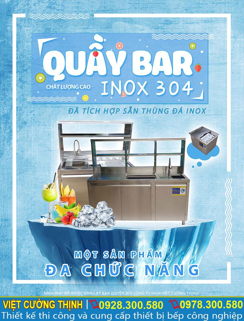 Đặc điểm của Thiết bị quầy bar cafe, Quầy bar pha chế inox cao cấp.