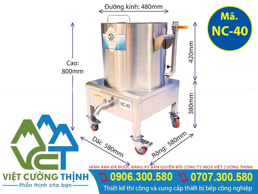 Kích thước Nồi nấu cháo bằng điện, Nồi điện hầm cháo dinh dưỡng, Dung tích 40L sản xuất Inox Việt Cường Thịnh