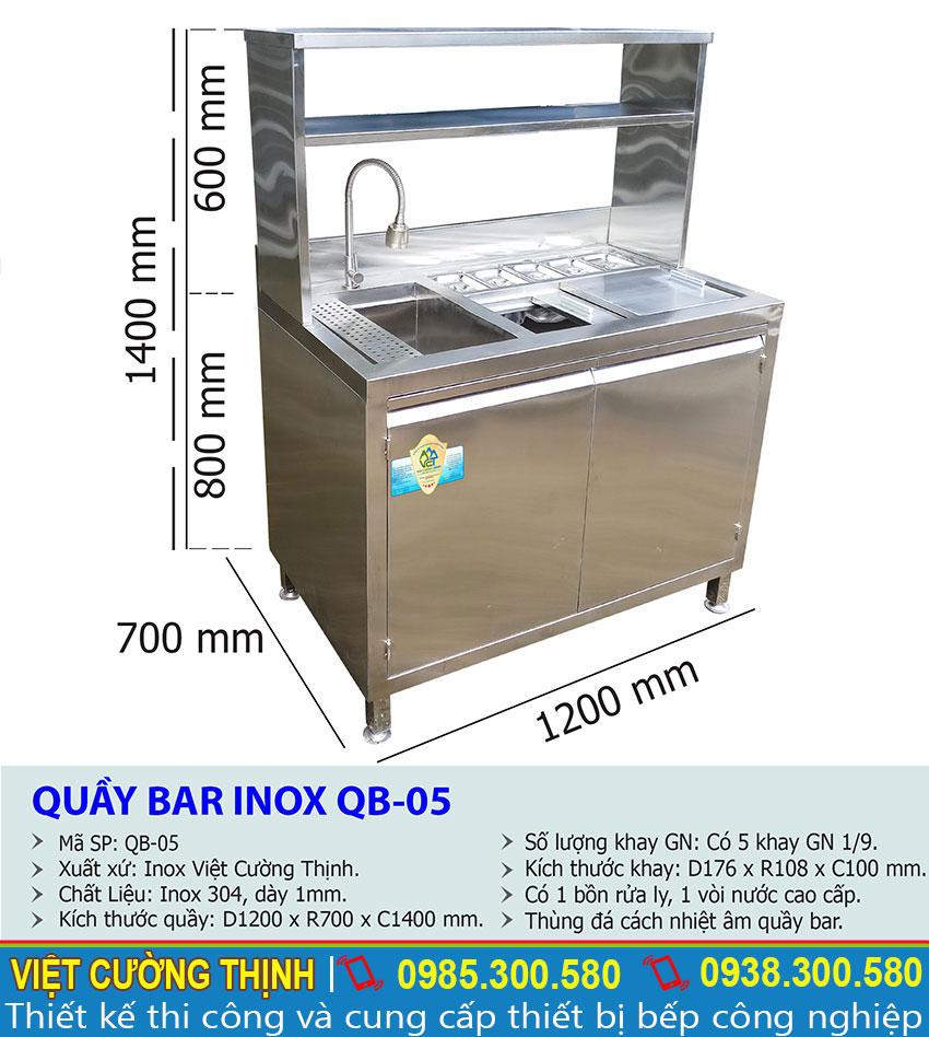 Kích thước Quầy bar inox 304, Quầy pha chế trà sữa mini QB-05