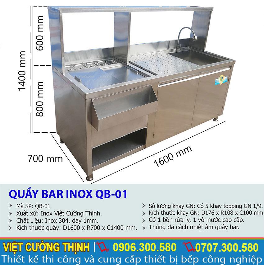 Thông số kỹ thuật của thiết bị quầy pha chế inox cao cấp sản xuất Việt Cường Thịnh.