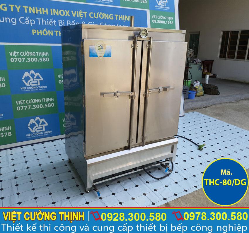 Tủ nấu cơm công nghiệp 80 kg sử dụng gas sản xuất bằng inox 304, có độ bền cao.