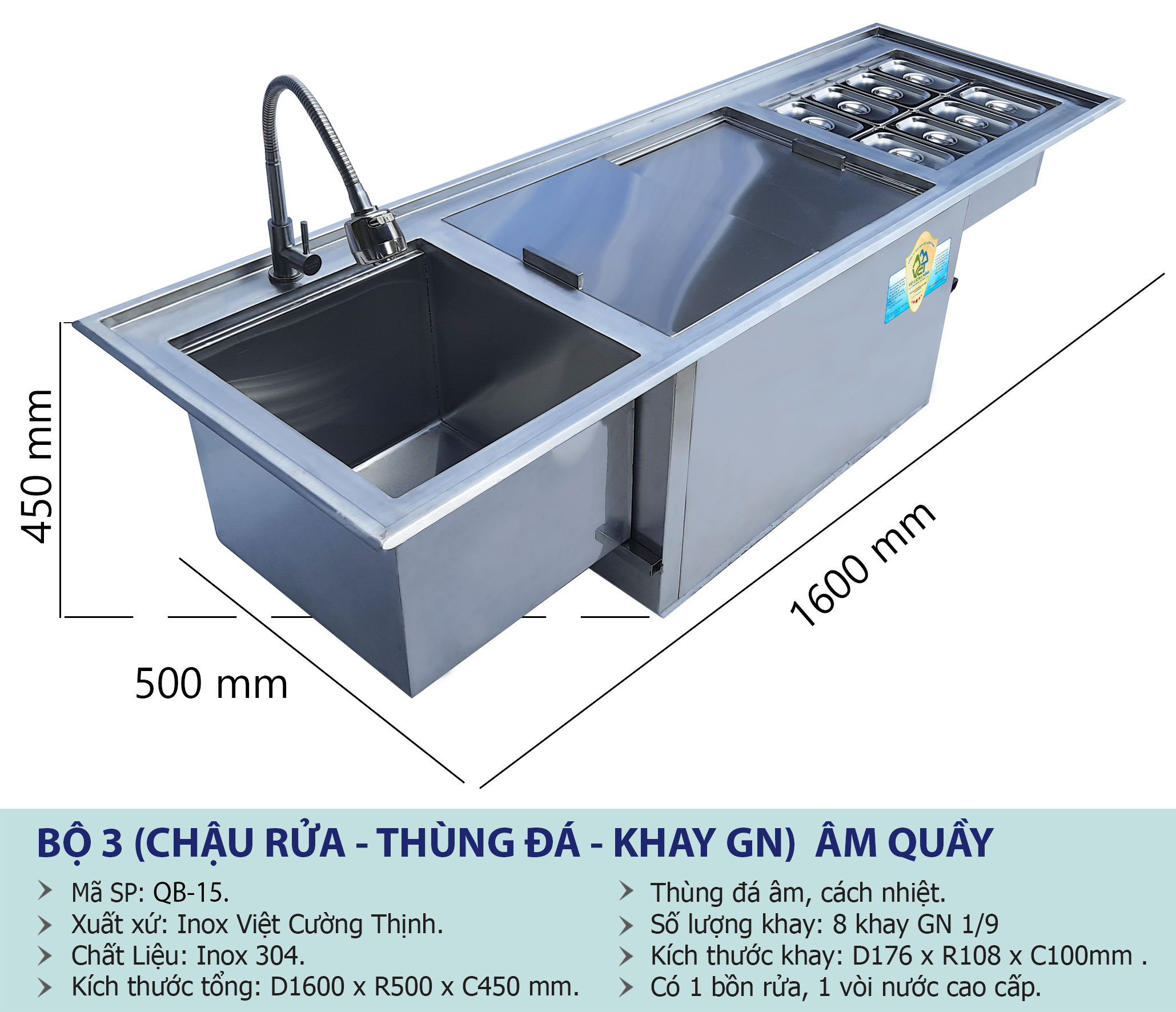 Kích thước thùng đá inox quầy bar, Thùng đựng đá inox , Thùng chứa đá inox sản xuất tại Việt Cường Thịnh.