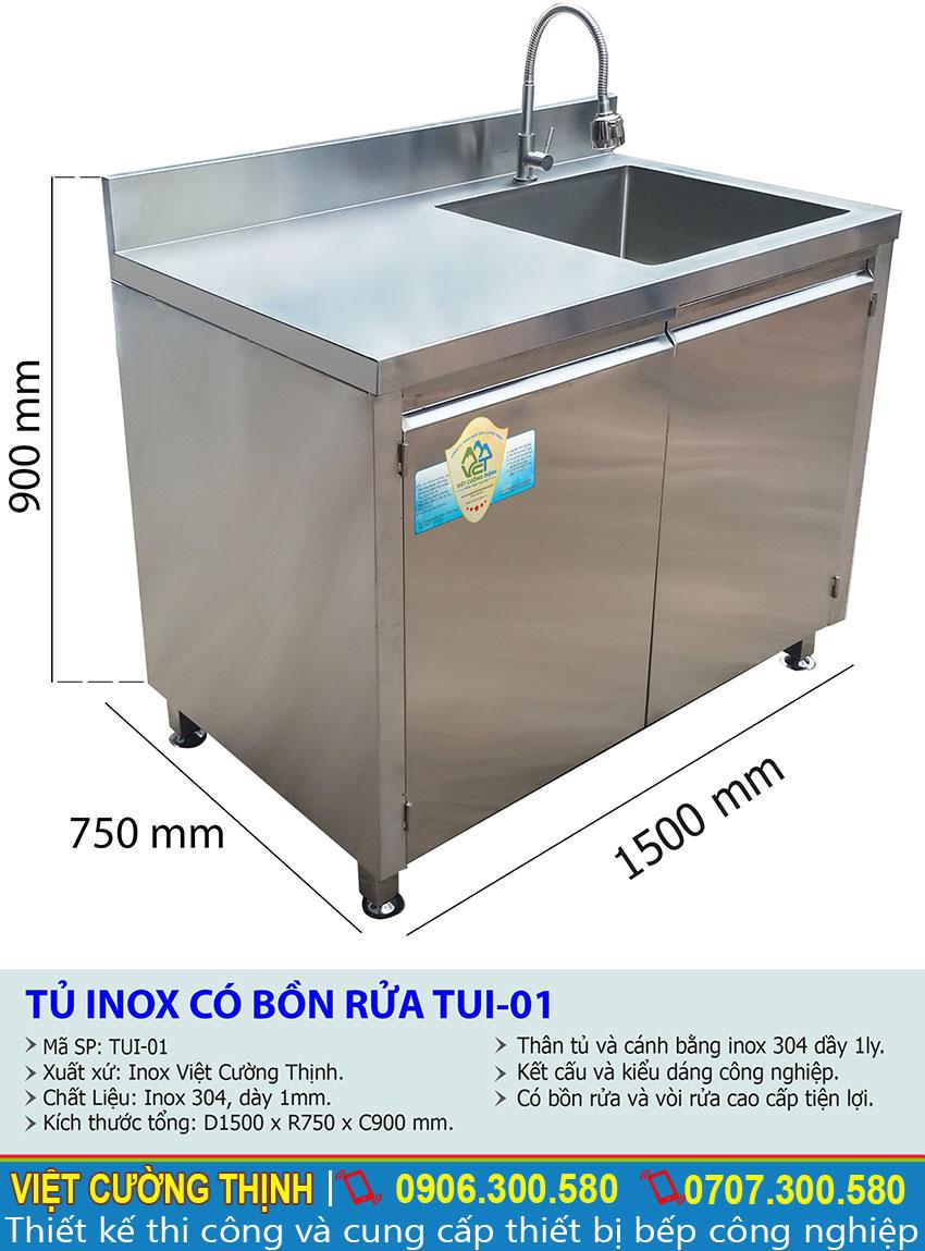 Kích thước tổng thể của tủ chén inox, tủ bếp inox 304, tủ inox có bồn rửa TUI-01 sản xuất Inox Việt Cường Thịnh.
