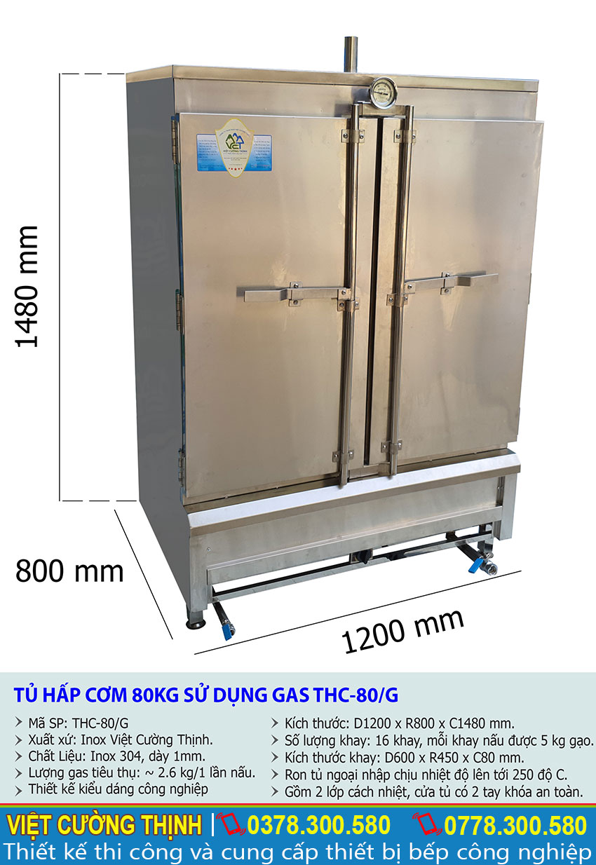 Kích thước tổng thể của tủ cơm công nghiệp 80 kg, tủ nấu cơm 80 kg sử dụng ga THC-80/G.