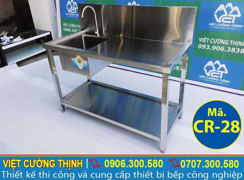 Bồn rửa inox công nghiệp, chậu rửa chén đơn inox , báo giá bồn rửa inox sản xuất Việt Cường Thịnh.