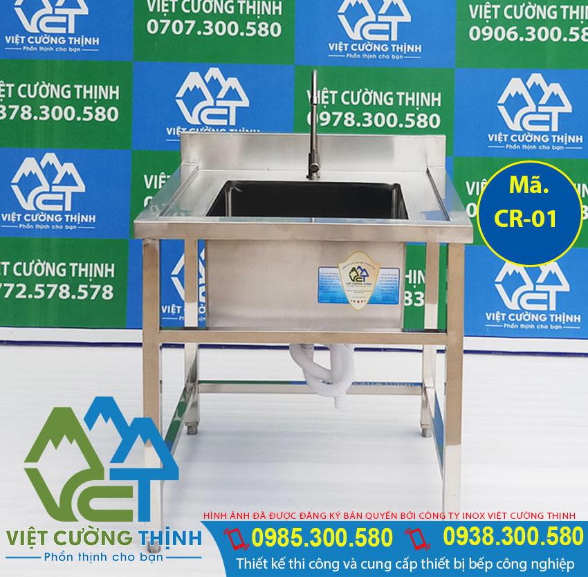 Chậu rửa inox công nghiệp, bồn rửa đơn gia đình CR-01 sản xuất Inox Việt Cường Thịnh.