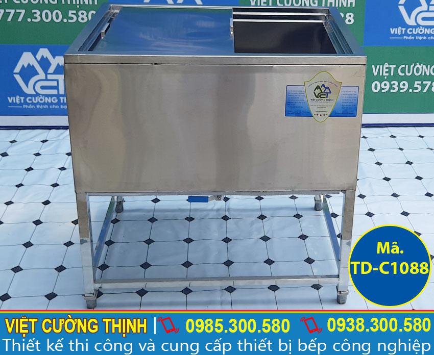 Báo giá thùng đá inox, thùng chứa đá inox có khung chân cao cấp tại TPHCM.