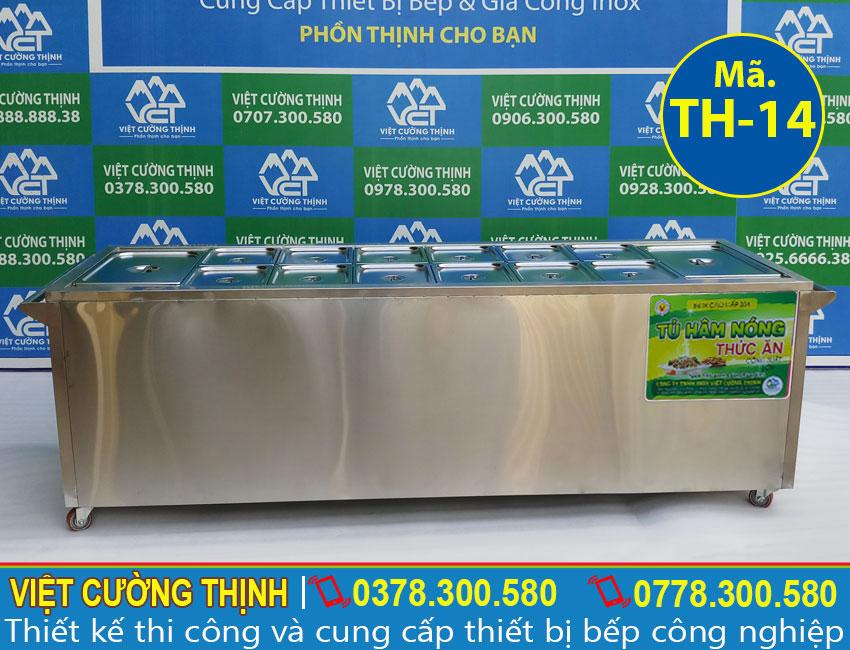 Tủ hâm nóng thức ăn, tủ giữ nóng thức ăn, tủ bán cơm hâm nóng, quầy giữ nóng thức ăn inox sản xuất Inox Việt Cường Thịnh.