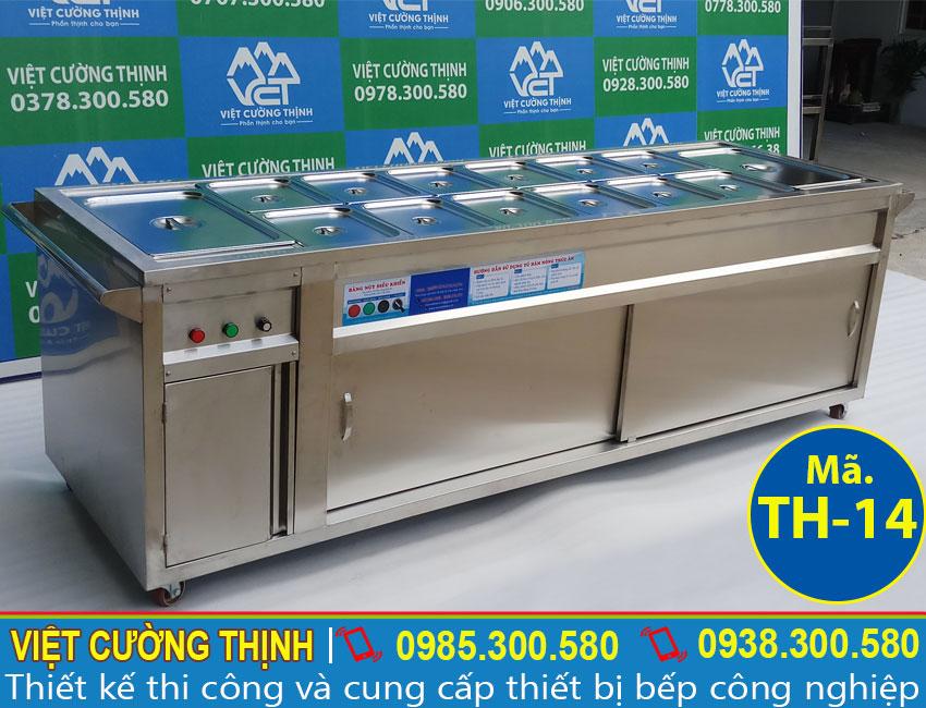 Quầy giữ nóng thức ăn, tủ hâm nóng thức ăn, tủ giữ nóng thức sản xuất inox 304 có độ bền cao, sang trọng và sáng bóng.