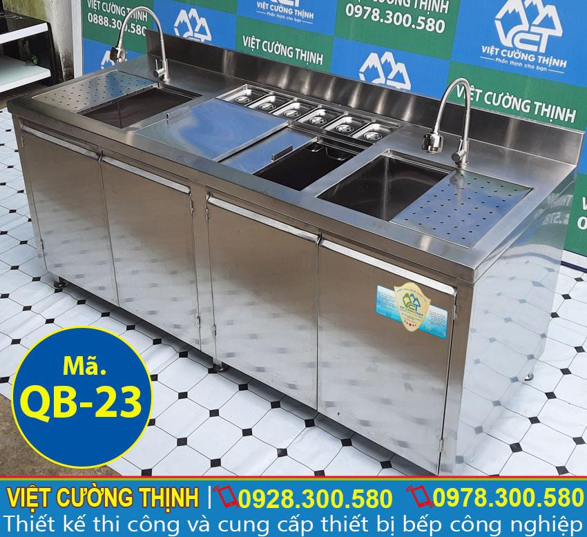 Mẫu quầy bar pha chế trà sữa, quầy pha chế cafe đẹp sản xuất Inox Việt Cường Thịnh.