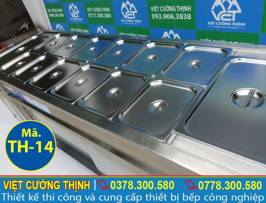 Cấu tạo về quầy giữ hâm nóng thức ăn, tủ hâm nóng thức ăn 18 khay TH-06 sản xuất Inox Việt Cường Thịnh.