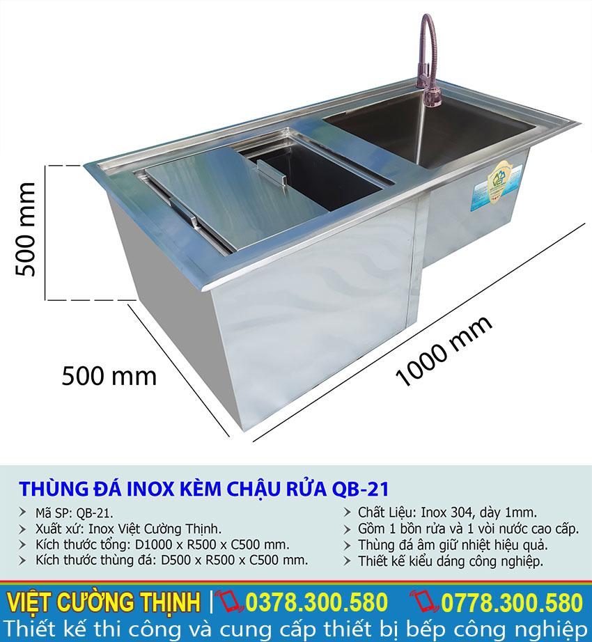 Kích thước tủ đá inox quầy bar, thùng chứa đá quầy bar QB-21 sản xuất Việt Cường Thịnh.
