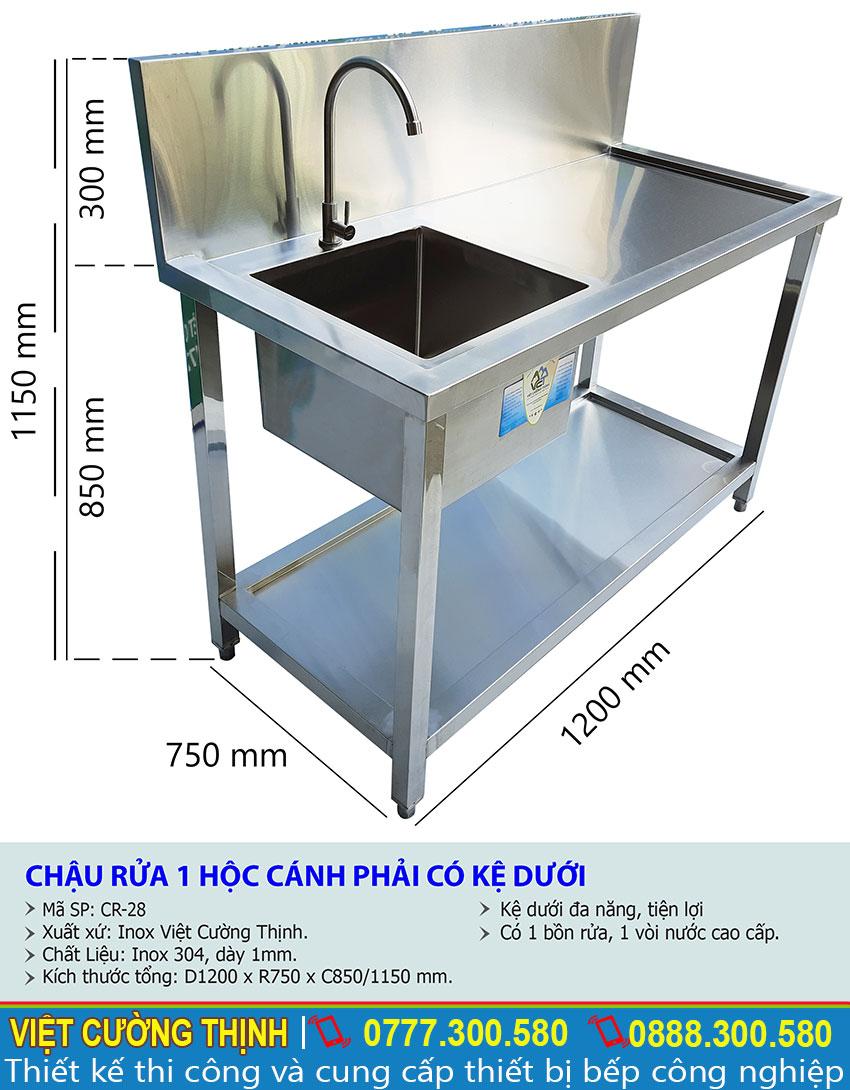 Kích thước về chậu rửa đơn inox , bồn rửa đơn inox, bồn rửa tay inox 304 sản xuất Inox Việt Cường Thịnh.