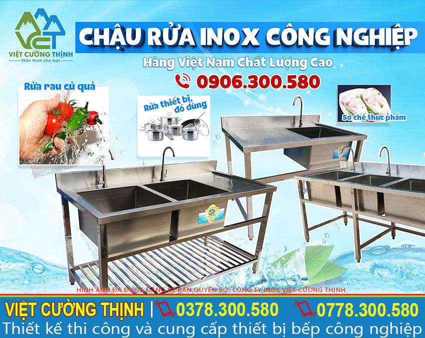 Chậu rửa inox công nghiệp, bồn rửa inox công nghiệp, máng rửa tay inox công nghiệp sản xuất Inox Việt Cường Thịnh.