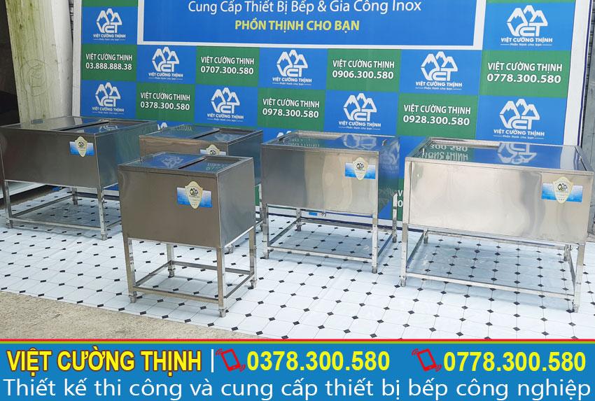 Bộ 5 thùng đá có khung chấn, tủ đá inox quầy bar có chân sản xuất Inox Việt Cường Thịnh.