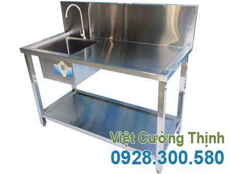 Chậu rửa inox công nghiệp, chậu rửa đôi inox gia đình sản xuất Inox Việt Cường Thịnh