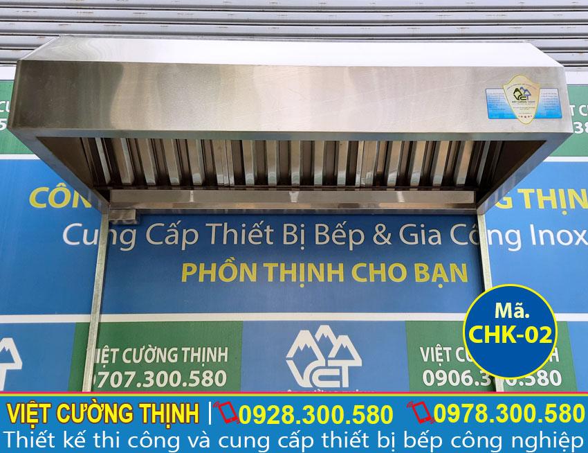 Chụp hút mùi inox, chụp hút khói bếp gia đình, chụp hút khói nhà hàng dài 1m5 sản xuất Inox Việt Cường Thịnh.