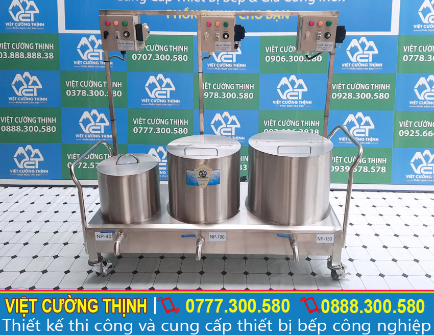 Bộ 3 nồi nấu phở bằng điện, nồi hầm xương 150 lít, nồi nấu nước dùng 120 lít, nồi trụng bánh phở 40 lít inox cao cấp sản xuất Inox Việt Nam.