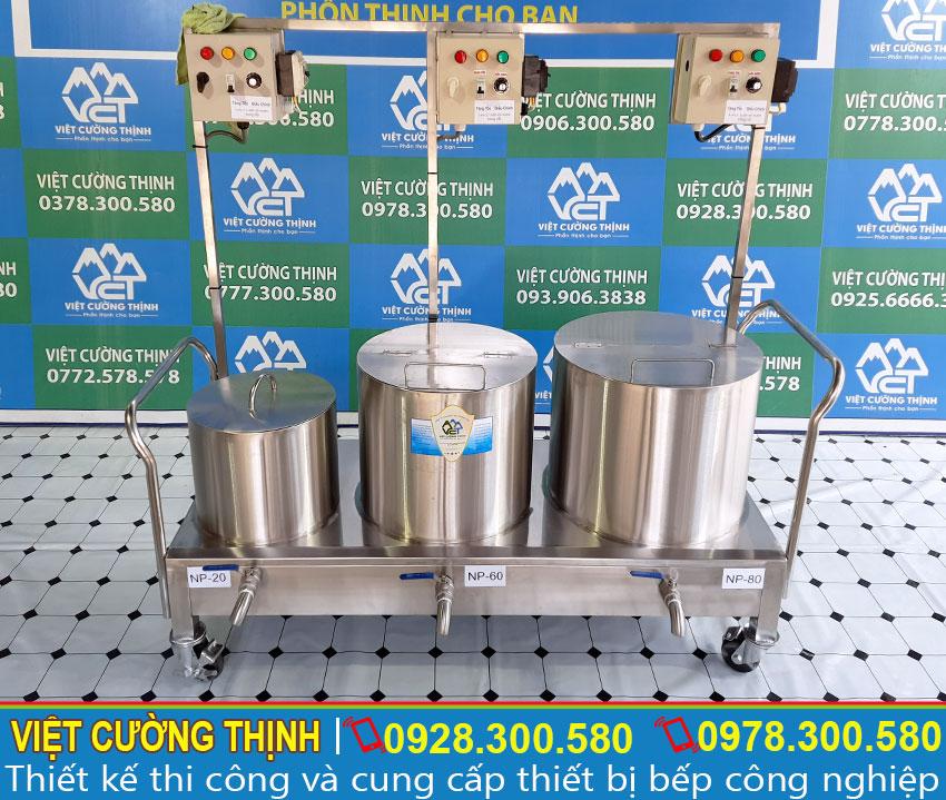 Bộ 3 nồi nấu phở bằng điện , nồi hầm xương 80 lít, nồi nấu nước lèo 60 lít, nồi trụng bánh 20 lít inox cao cấp sản xuất Inox Việt Cường Thịnh.