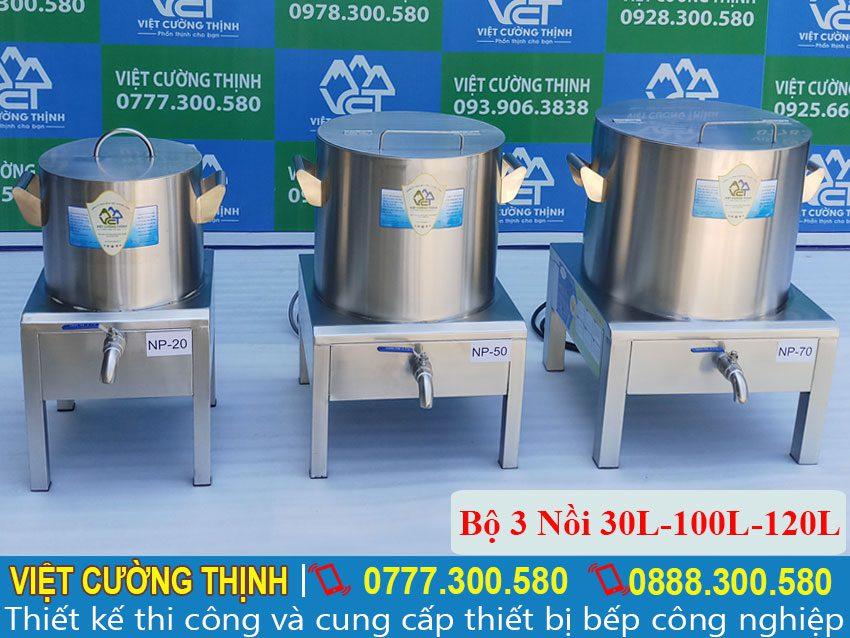 Bộ nồi nấu phở bằng điện, nồi hầm xương bằng điện, nồi điện nấu hủ tiếu cao cấp sản xuất Inox Việt Cường Thịnh.