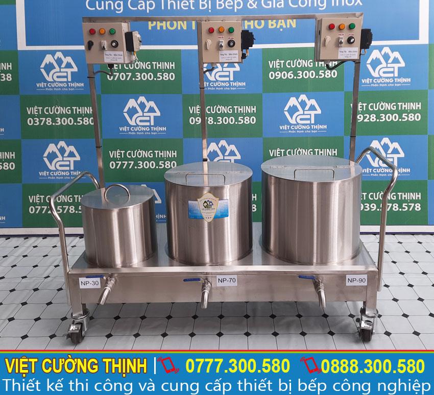 Bộ 3 nồi nấu phở bằng điện , nồi hầm xương 90 lít, nồi nấu nước lèo 70 lít, nồi trụng bánh 30 lít inox cao cấp sản xuất Inox Việt Cường Thịnh.