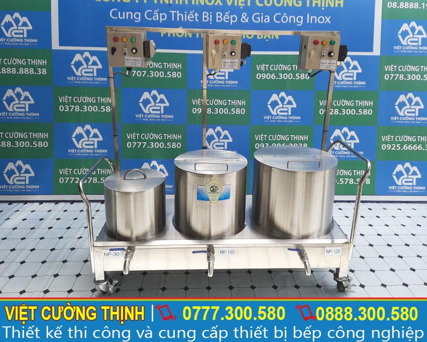 Bộ 3 nồi điện nấu phở, nồi hầm xương 120 lít, nồi nấu nước dùng 100 lít, nồi trụng bánh phở 40 lít inox cao cấp sản xuất Việt Cường Thịnh.