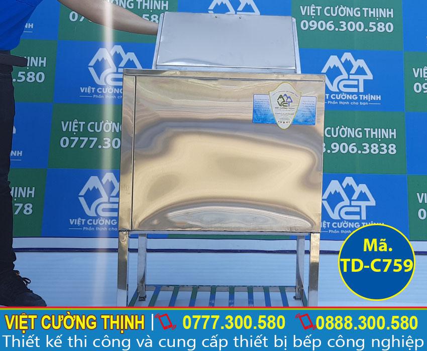 Thùng đá inox quầy bar có khung chân vững chắc TD-759 sản xuất Inox Việt Cường Thịnh.