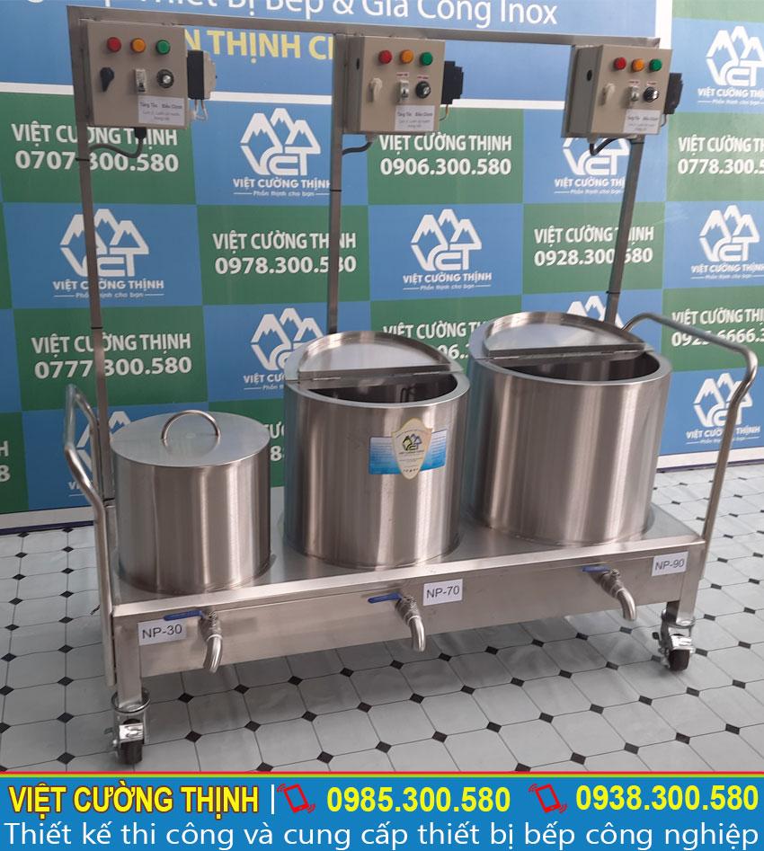 Kich thước tổng thể của bộ nồi điện nấu phở 30-80-100 lít sản xuất Inox Việt Cường Thịnh
