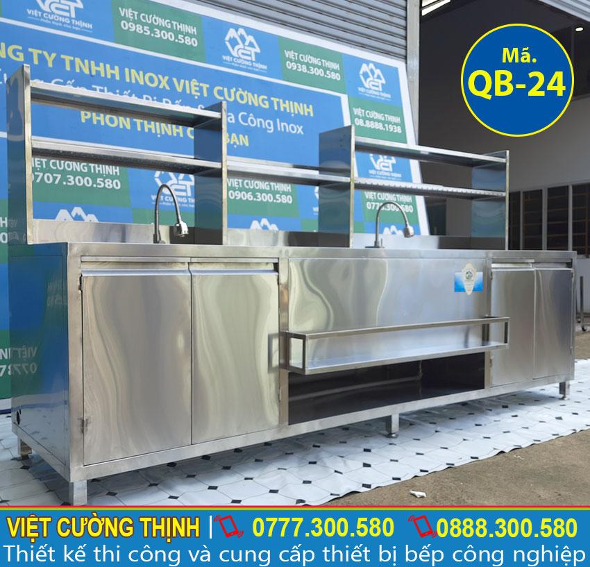 Quầy pha chế sản xuất inox 304 cao cấp, có độ bền cao, chịu nhiệ tốt, đa năng tiện dụng.