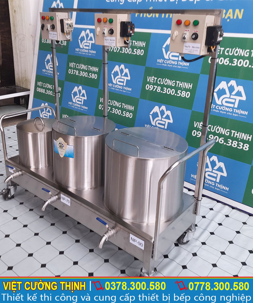 Bộ nồi nấu phở bằng điện sản xuất inox 304 cao cấp, có độ bền cao và chịu nhiệt tốt.