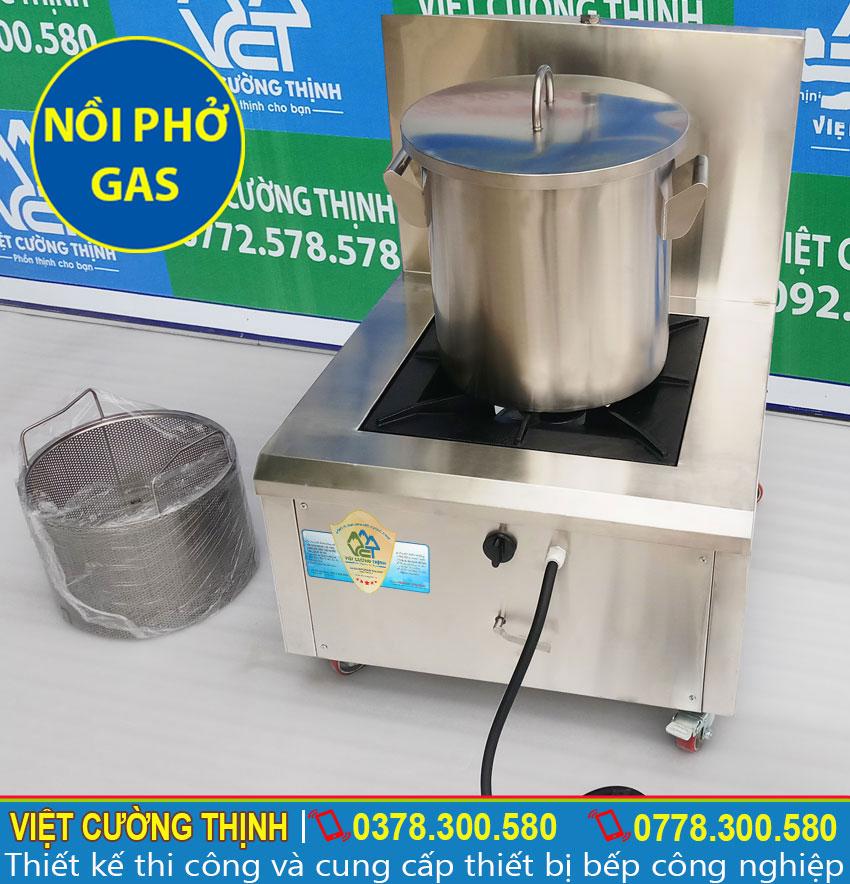 Nồi nấu phở inox bằng gas, nồi hầm xương bằng gas, nồi nấu hủ tiếu bằng gas inox cao cấp sản xuất Việt Cường Thịnh.