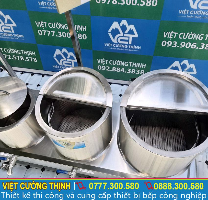 Bộ nồi thiết kế 2 lớp inox 304, ở giữa là foam cách nhiệt dày 3 cm, giúp giữ nhiệt hiệu quả.