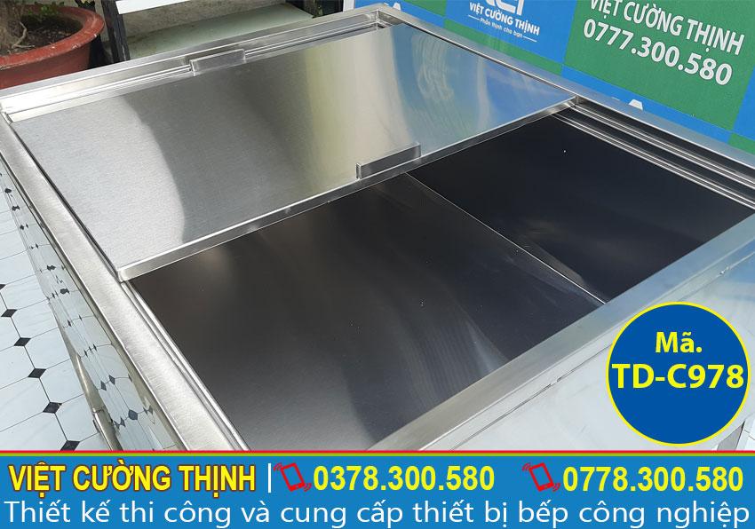 Hộc tủ được thiết kế hiện đại có thể giữ nhiệt trong thời gian 2 đến 3 ngày.