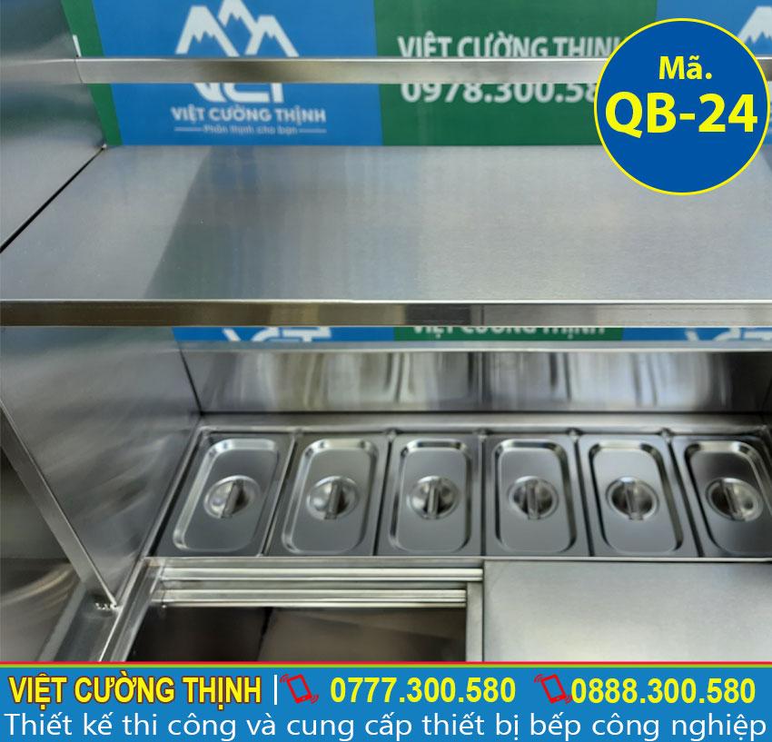 Khung kệ và Khay giữ nhiệt giúp chứa nguyên liệu an toàn và đảm bảo chất lượng.