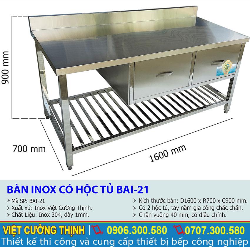 Kích thước về bàn sơ chế, bàn inox có hộc tủ BAI-21