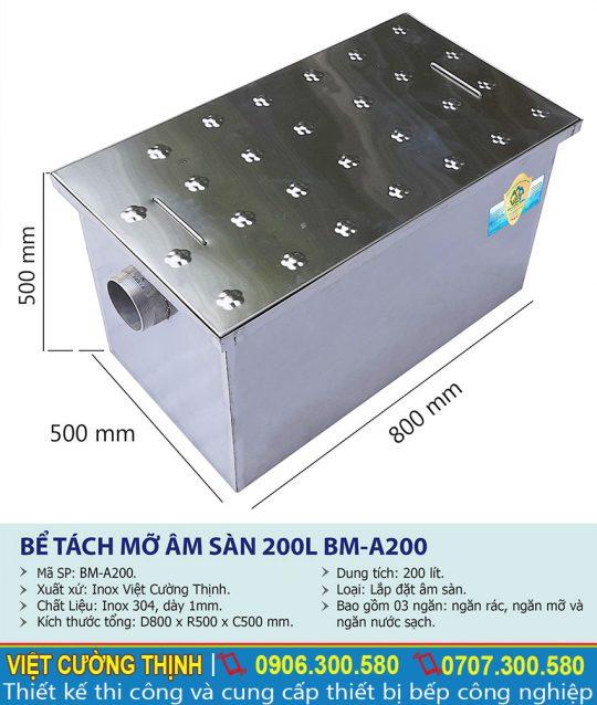 Kích thước thiết bị lọc mỡ inox, bể tách mỡ inox âm sàn công nghiệp 200 lít BM-A200