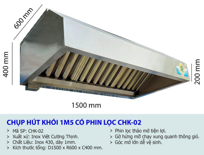 Kích thước hệ thống hút khói công nghiệp, chụp hút khói bếp gia đình, chụp hút khói nhà hàng 1m5.
