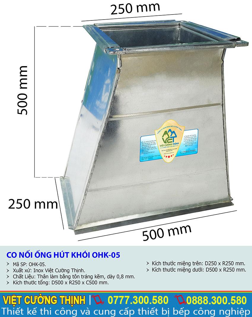 Kích thước về co nối ống hút khói, ống nối máy hút mùi OHK-05 sản xuất Inox Việt Cường Thịnh.