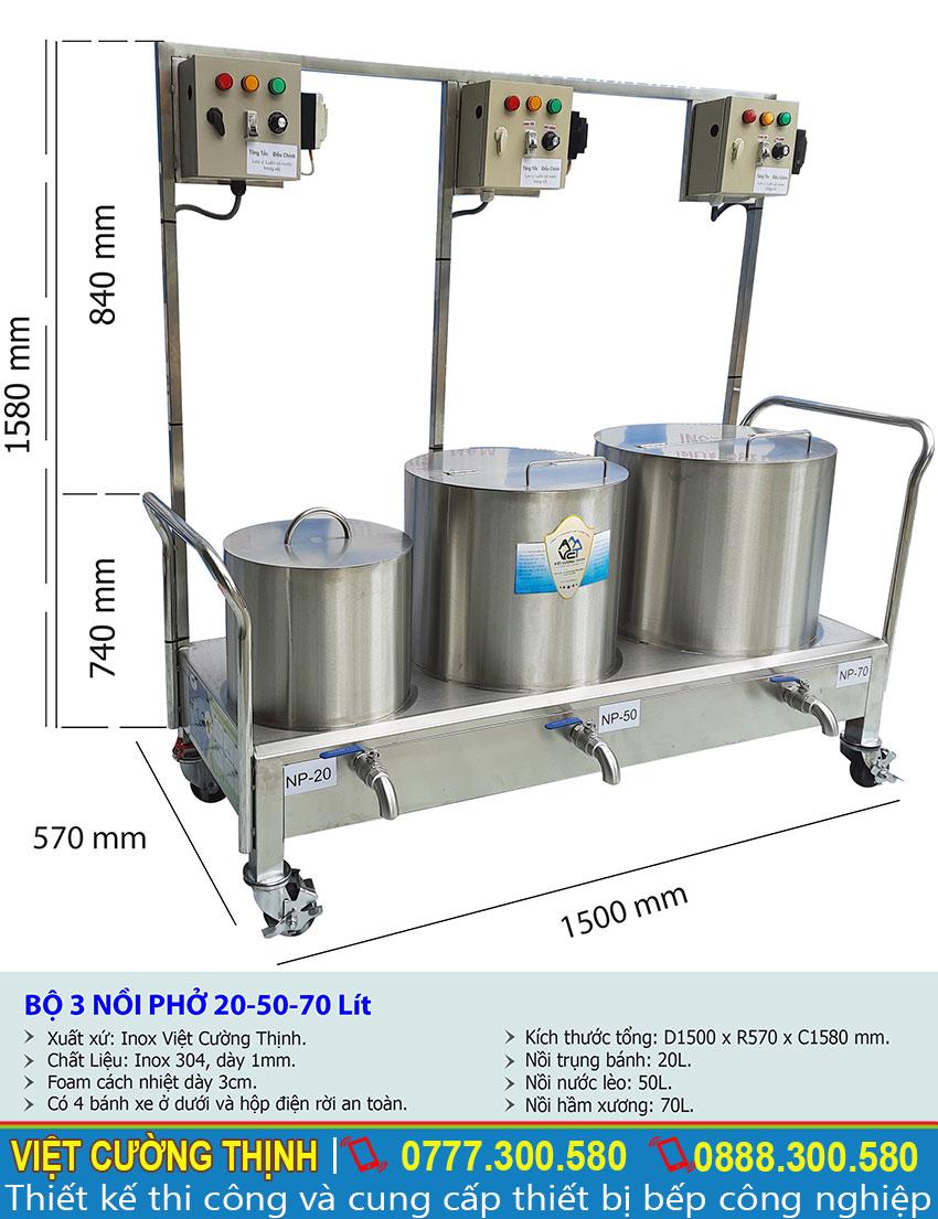Kich thước tổng thể của bộ 3 nồi nấu phở điện inox liền bệ 20L-50L-70L sản xuất Inox Việt Cường Thịnh