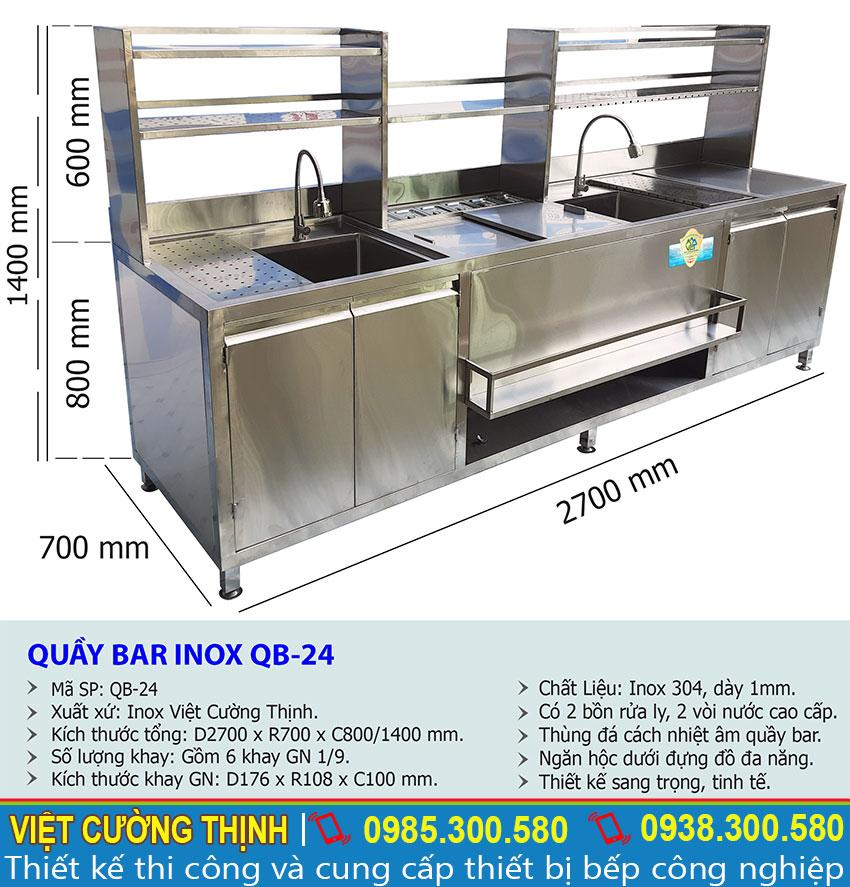 Kich thước của quầy bar pha chế inox, quầy pha chế cafe QB-24.