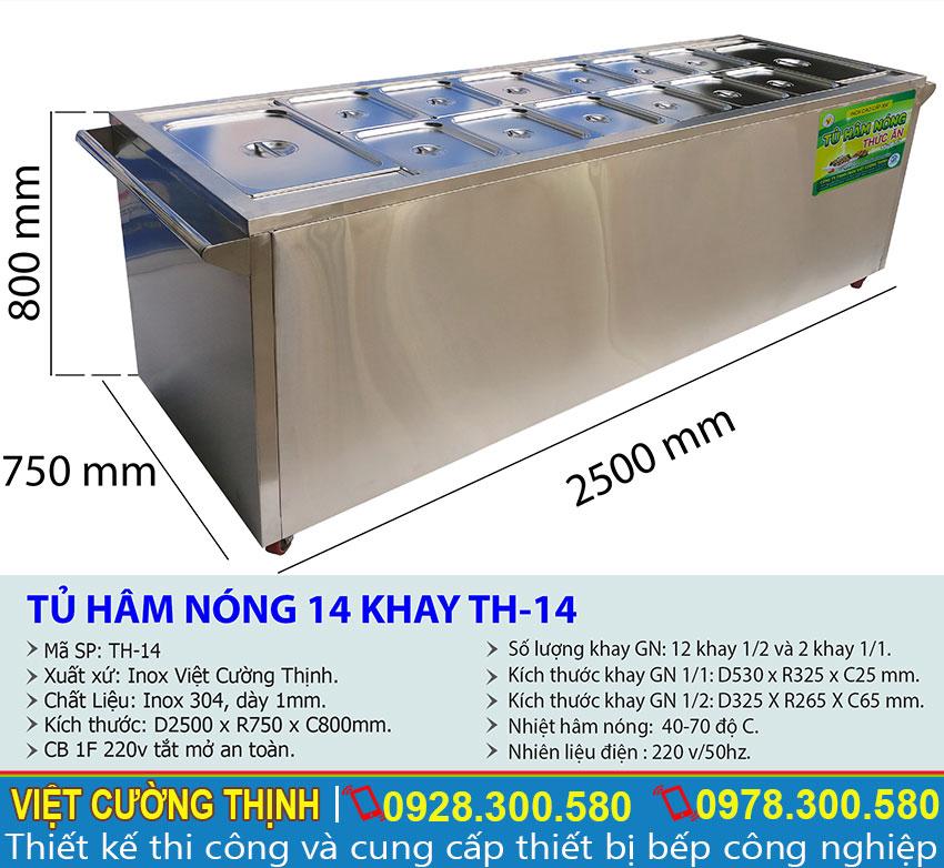 Kích thước của tủ giữ nóng thức ăn, quầy hâm nóng thức ăn, quầy giữ nóng thức ăn inox sản xuất Inox Việt Cường Thịnh.