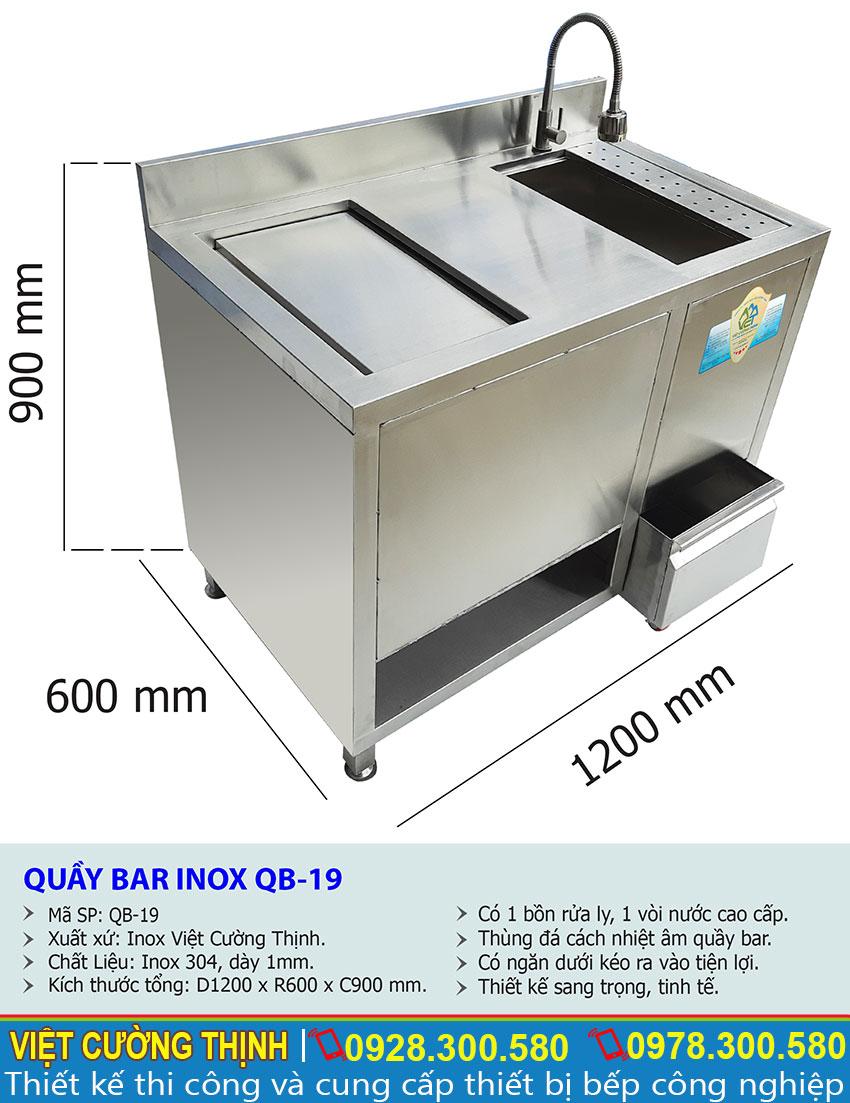 Kích thước về tủ đựng đá inox quầy bar QB-19 sản xuất Inox Việt Cường Thịnh.