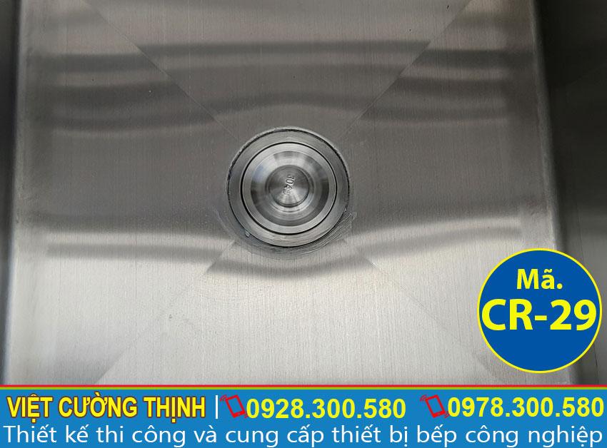 Xi phông chậu rửa inox công nghiệp, bồn rửa inox công nghiệp sáng bóng sản xuất Việt Cường Thịnh.