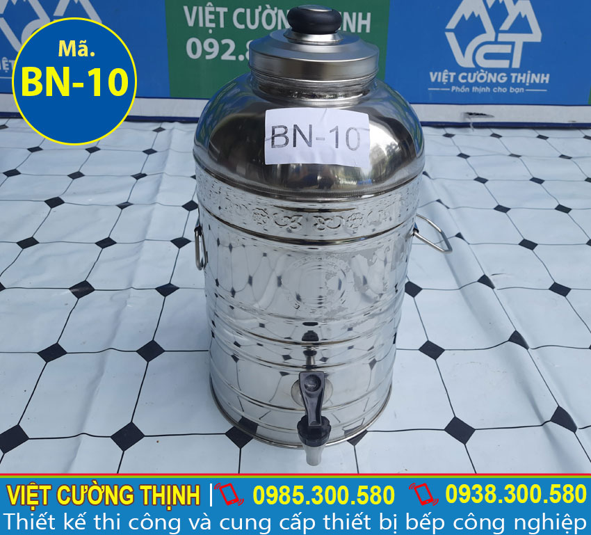 Bình đựng nước đá inox, bình đựng trà đá inox sản xuất Việt Cường Thịnh.