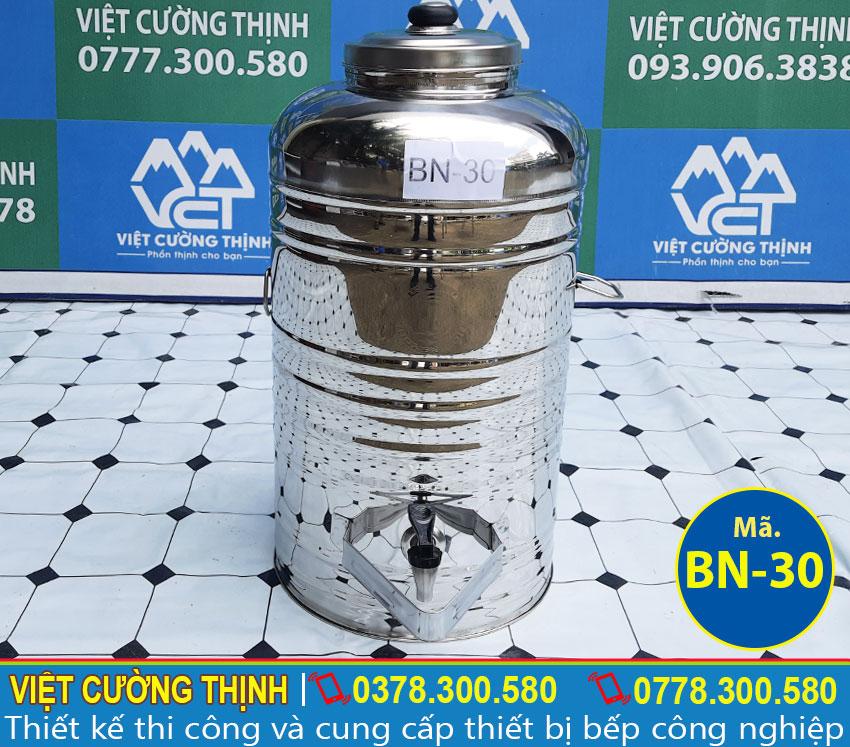 Bình đựng nước đá inox, bình đựng trà đá inox 30 lít sản xuất Inox Việt Cường Thịnh.