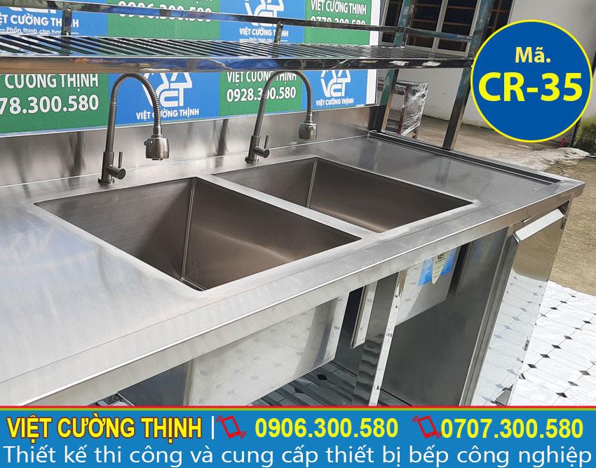 Chậu rửa inox 2 ngăn có kệ và tủ CR-25