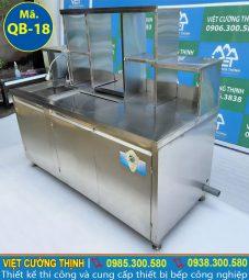 quầy bar pha chế trà sữa inox thiết kế sang trọng và đẳng cấp.