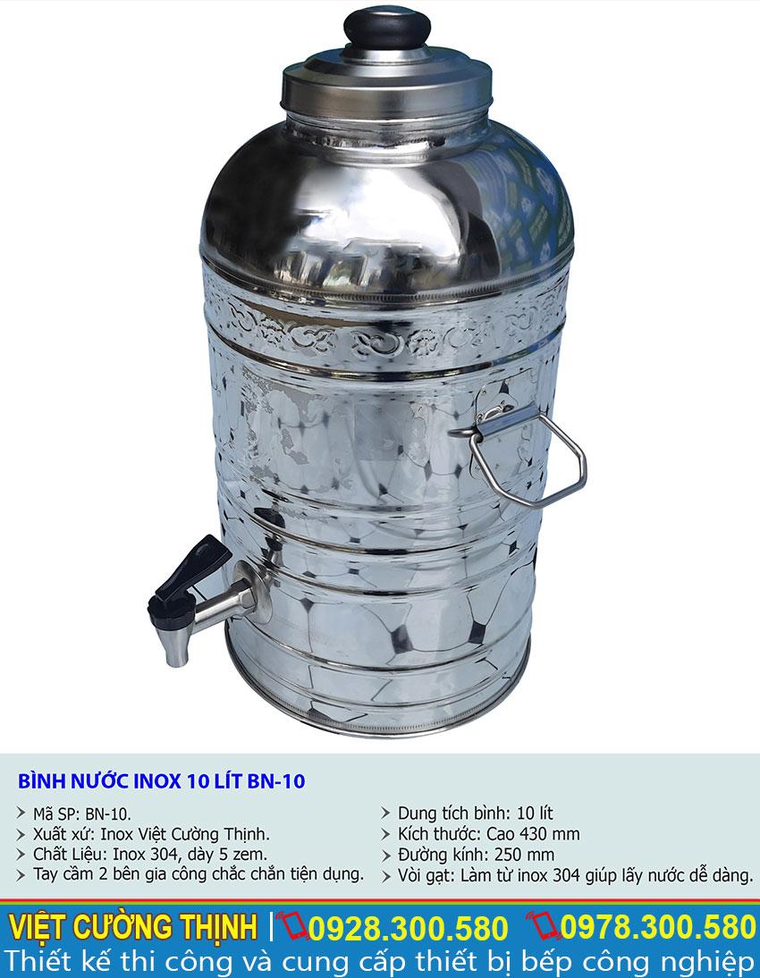 Kích thước tổng thể của bình chứa nước inox, bình đựng trà đá inox BN-10.