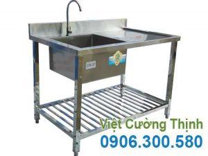 Bồn rửa chén bát inox 1 ngăn, chậu rửa bát đơn 1 ngăn sản xuất Inox Việt Cường Thịnh.