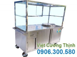 Xe bán phở inox, tủ bán phở inox, xe đẩy bán phở có nồi điện sản xuất Inox Việt Cường Thịnh.